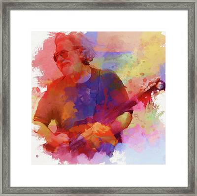 Colorful Jerry Garcia Framed Print by Dan Sproul