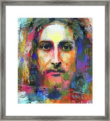 Colorful Jesus Framed Print by Yury Malkov