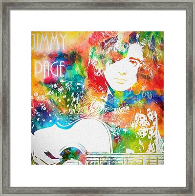 Colorful Jimmy Page Framed Print by Dan Sproul
