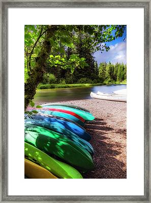 Colorful Kayaks Framed Print by Cat Connor