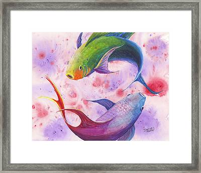 Framed Print featuring the painting Colorful Koi by Darice Machel McGuire