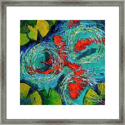 Colorful Koi Fishes In Lily Pond Framed Print