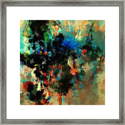 Framed Print featuring the painting Colorful Landscape / Cityscape Abstract Painting by Ayse Deniz