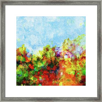 Framed Print featuring the painting Colorful Landscape Painting In Abstract Style by Ayse Deniz