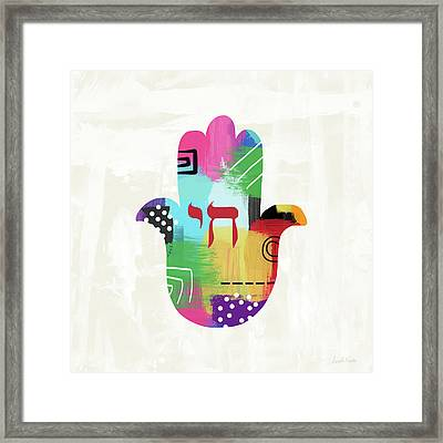 Colorful Life Hamsa- Art By Linda Woods Framed Print by Linda Woods
