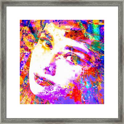 Colorful Life - Audrey Hepburn Framed Print by Stacey Chiew