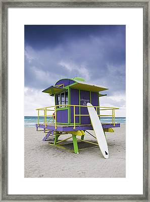 Colorful Lifeguard Station And Surfboard Framed Print by Jeremy Woodhouse