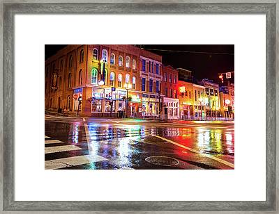 Colorful Lights Of The Music City - Nashville Tennessee  Framed Print