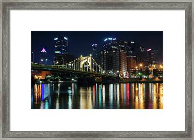 Colorful Lights On The Allegheny Framed Print by Frozen in Time Fine Art Photography