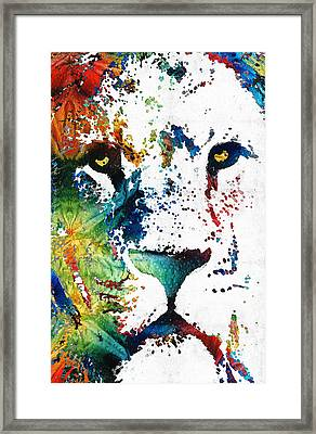 Colorful Lion Art By Sharon Cummings Framed Print
