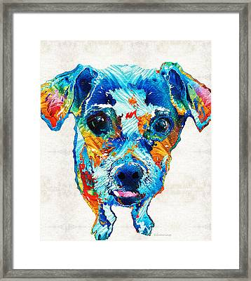Colorful Little Dog Pop Art By Sharon Cummings Framed Print by Sharon Cummings