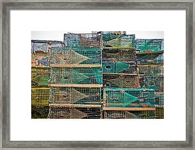 Colorful Lobster Traps Framed Print by Colleen Kammerer