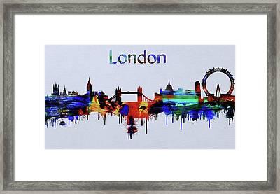 Colorful London Skyline Silhouette Framed Print
