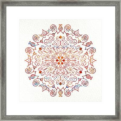 Colorful Mandala On Watercolor Paper Framed Print
