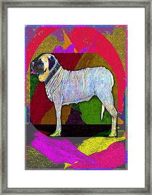 Framed Print featuring the drawing Colorful Mastiff by Michelle Audas