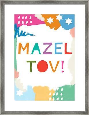 Colorful Mazel Tov- Art By Linda Woods Framed Print