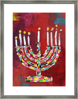 Colorful Menorah- Art By Linda Woods Framed Print by Linda Woods