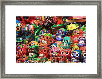 Colorful Mexican Day Of The Dean Ceramic Skulls Framed Print