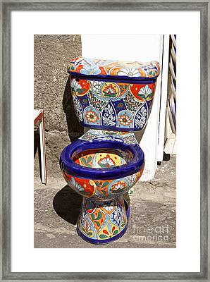 Colorful Mexican Toilet Puebla Mexico Framed Print by John  Mitchell