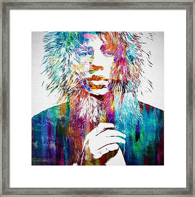 Colorful Mick Jagger Framed Print by Dan Sproul