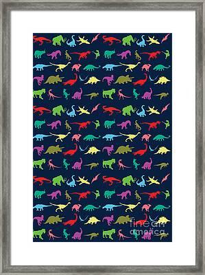 Colorful Mini Dinosaur Framed Print by Naviblue