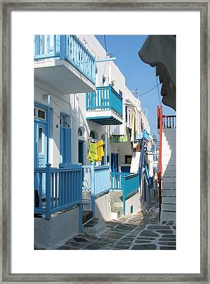 Colorful Mykonos Framed Print by Carla Parris