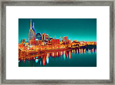 Colorful Nashville Skyline Reflection Framed Print by Dan Sproul