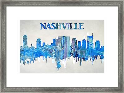 Colorful Nashville Skyline Silhouette Framed Print by Dan Sproul