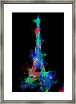 Colorful Neon Eiffel Tower Framed Print