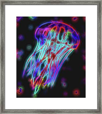 Colorful Neon Jellyfish Framed Print by Dan Sproul