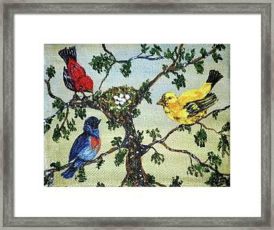 Colorful Nesting Birds Framed Print by Ann Ingham