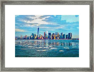 Colorful New York Skyline Painting Framed Print by Wall Art Prints