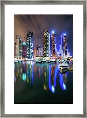 Colorful Night Dubai Marina Skyline, Dubai, United Arab Emirates Framed Print