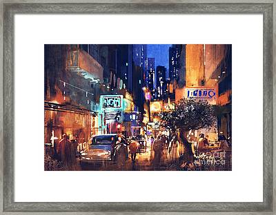Colorful Night Street Framed Print