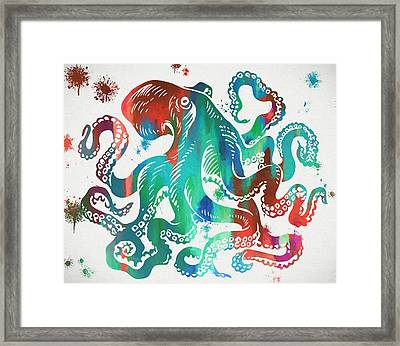 Colorful Octopus  Framed Print by Dan Sproul