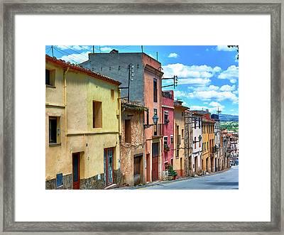 Colorful Old Houses In Tarragona Framed Print