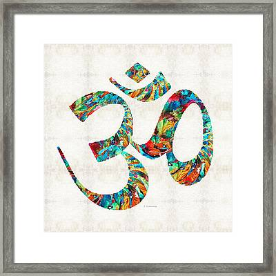 Colorful Om Symbol - Sharon Cummings Framed Print by Sharon Cummings