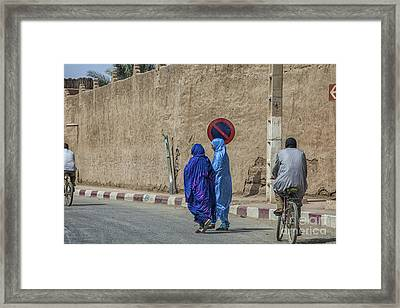 Colorful Outfits On The Street In Morocco Framed Print