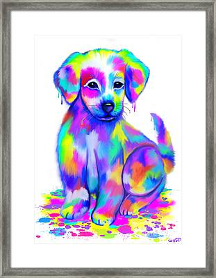 Colorful Painted Puppy Framed Print by Nick Gustafson