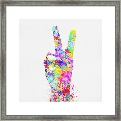 Colorful Painting Of Hand Point Two Finger Framed Print by Setsiri Silapasuwanchai