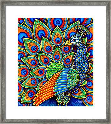 Colorful Paisley Peacock Framed Print