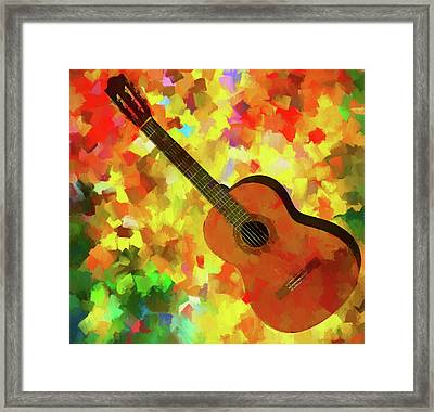 Colorful Palette Knife Guitar Framed Print by Dan Sproul