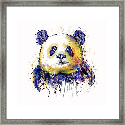Framed Print featuring the mixed media Colorful Panda Head by Marian Voicu