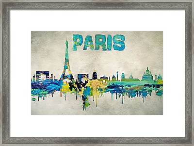 Colorful Paris Skyline Silhouette Framed Print