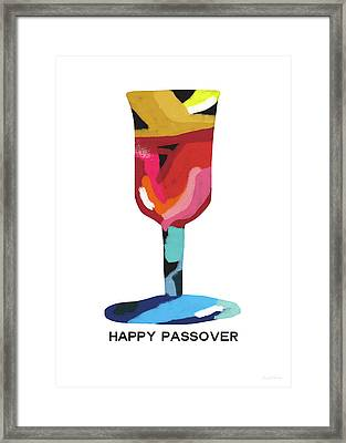 Framed Print featuring the mixed media Colorful Passover Goblet- Art By Linda Woods by Linda Woods
