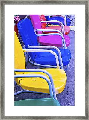Colorful Patio Chairs Framed Print by Garry Gay