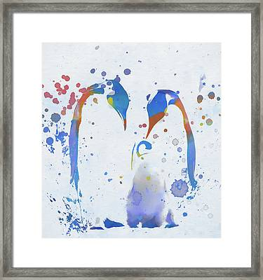 Framed Print featuring the painting Colorful Penguin Family by Dan Sproul