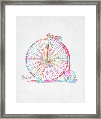 Colorful Penny-farthing 1867 High Wheeler Bicycle Framed Print