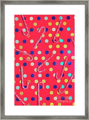 Colorful Pepermint Candy Canes Framed Print