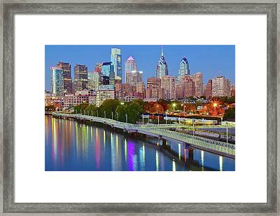 Colorful Philly Lights Framed Print by Frozen in Time Fine Art Photography